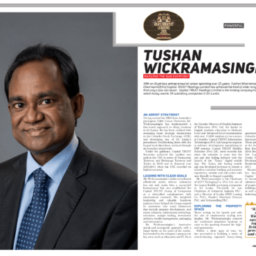 Tushan Wickramasinghe – RAISING THE BAR EVERYDAY